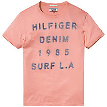 Buy Hilfiger Denim Jersey Crew Neck T-Shirt, Salmon Online at johnlewis.com