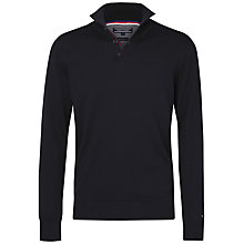 Buy Tommy Hilfiger Prime Cotton Button Mock Neck Jumper, Midnight Online at johnlewis.com