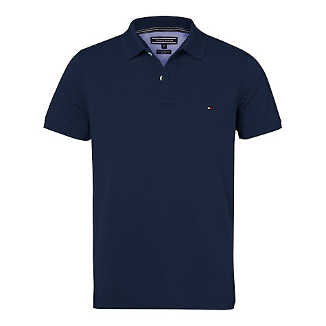 buy tommy hilfiger slim fit short sleeve polo shirt black iris online. Black Bedroom Furniture Sets. Home Design Ideas