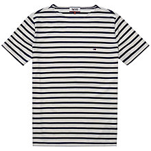 Buy Hilfiger Denim Basic All Stripe Crew Neck T-Shirt, Estate Blue/Marshmallow Online at johnlewis.com