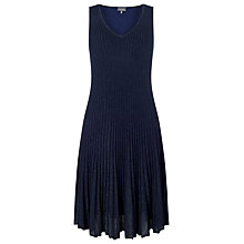 Buy Phase Eight Petra Pleat Knit Dress, Navy Online at johnlewis.com