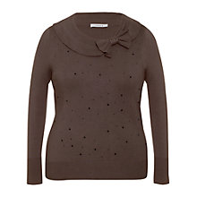 Buy Chesca Crystal Bow Trim Jumper, Mink Online at johnlewis.com