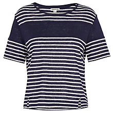 Buy Whistles Stripe Linen T-Shirt, Blue/Multi Online at johnlewis.com