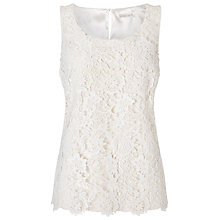 Buy Jacques Vert Lace Border Top, Light Neutral Online at johnlewis.com