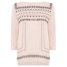 Buy Oasis Embroidered Woven Front Top, Neutral Online at johnlewis.com