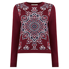 Buy Oasis Dakota Cropped Jumper, Burgundy Online at johnlewis.com