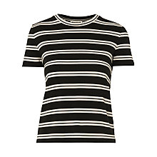 Buy Whistles Stripe Cross Back T-Shirt, Black/Multi Online at johnlewis.com