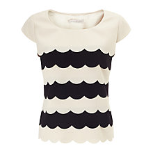 Buy Jacques Vert Scallop Layer Top, Cream/Black Online at johnlewis.com