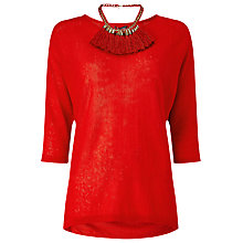 Buy Phase Eight Tomasine Tassle Necklace Jumper, Red Online at johnlewis.com