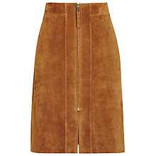 Buy Reiss Joss Zip Front Suede Skirt, Tan Online at johnlewis.com