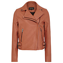 Buy Reiss Leather Sadie Textured Biker Jacket, Rosewood Online at johnlewis.com