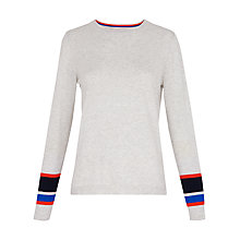 Buy Whistles Stripe Cuff Crew Neck Jumper, Grey/Multi Online at johnlewis.com