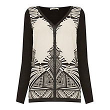 Buy Oasis Dakota Graphic Woven Front Top, Black Online at johnlewis.com