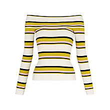 Buy Whistles Rib Knit Long Sleeve Bardot Top, Yellow/Multi Online at johnlewis.com