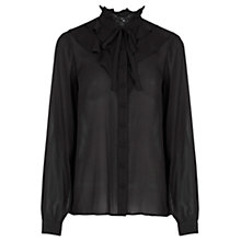 Buy Warehouse Ruffle Front Blouse, Black Online at johnlewis.com