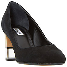 Buy Dune Alucent Block Heeled Court Shoes, Black Suede Online at johnlewis.com