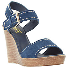 Buy Dune Kamella Wedge Heeled Sandals, Navy Suede Online at johnlewis.com