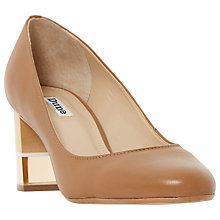 Buy Dune Alucent Block Heeled Court Shoes, Tan Leather Online at johnlewis.com