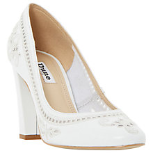 Buy Dune Bethanee Block Heeled Court Shoes, White Online at johnlewis.com