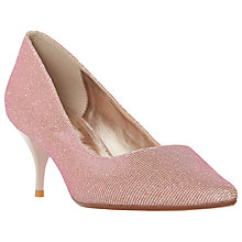Buy Dune Allera Mid Heeled Stiletto Court Shoes, Pink Glitter Online at johnlewis.com