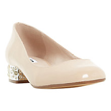 Buy Dune Bijoux Block Heeled Court Shoes, Nude Patent Online at johnlewis.com