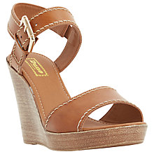 Buy Dune Kamella Wedge Heeled Sandals, Tan Leather Online at johnlewis.com