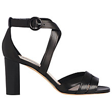 Buy L.K. Bennett Clover Block Heel Sandals, Black Leather Online at johnlewis.com