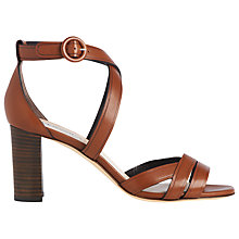 Buy L.K. Bennett Clover Block Heeled Sandals, Tan Leather Online at johnlewis.com
