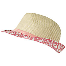 Buy Fat Face Children's Seaside Trim Trilby, Coral Online at johnlewis.com