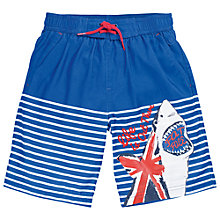 Buy Fat Face Boys' Union Jack Shark Board Shorts, Blue Online at johnlewis.com