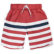 Buy Fat Face Boys' Stripe Boardie Shorts, Red Online at johnlewis.com