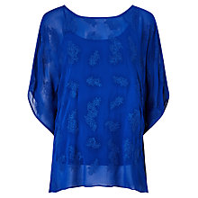 Buy Phase Eight Guilia Embroidered Tunic Top, Cobalt Online at johnlewis.com