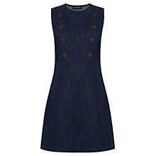 Buy Warehouse Double Breasted Button Shift Dress, Indigo Online at johnlewis.com