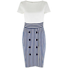 Buy Closet Tie Back Stripe Button Dress, Navy Online at johnlewis.com