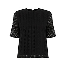 Buy Warehouse Broderie Fluted Sleeve Top, Black Online at johnlewis.com
