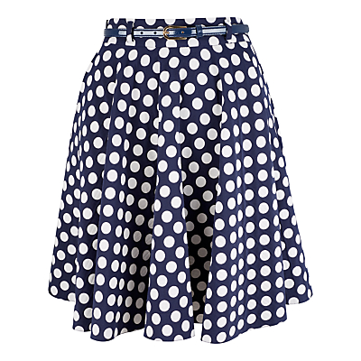 Closet Polka Dot Swing Skirt Navy £45.00 AT vintagedancer.com