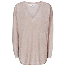 Buy Reiss Bless Metallic Knitted Sweater, Blush Online at johnlewis.com