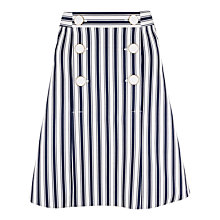 Buy Closet Stripe Double Button Skirt, Navy Online at johnlewis.com