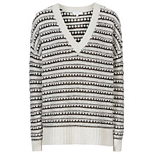 Buy Reiss Eshan Textured V-Neck Jumper, Off White Online at johnlewis.com