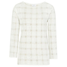 Buy Reiss Burton Checked Stitch Knit Top, Off White Online at johnlewis.com
