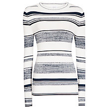 Buy Reiss Bonham Ribbed Stripped Jumper, Cream/Navy Online at johnlewis.com