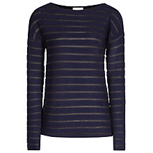 Buy Reiss Sheer Stripe Knitted Jumper, Navy Online at johnlewis.com