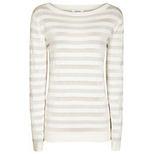 Buy Reiss Yvonne Metallic Stripe Jumper, White Online at johnlewis.com