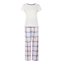 Buy John Lewis Soft Check Jersey Pyjama Set, Ivory/Blue Online at johnlewis.com