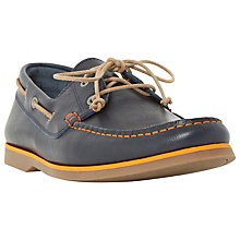 Buy Bertie Battlefield Leather Lace-Up Boat Shoes, Navy Online at johnlewis.com