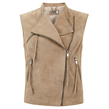 Buy Mint Velvet Suede Biker Gilet, Camel Online at johnlewis.com