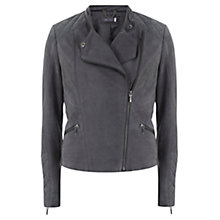 Buy Mint Velvet Nubuck Biker Jacket, Grey Online at johnlewis.com