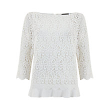 Buy Mint Velvet Lace Tie Back Layer Top, Ivory Online at johnlewis.com