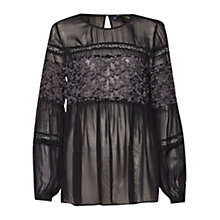 Buy French Connection Lilie Lace Sheer Blouse, Black Online at johnlewis.com