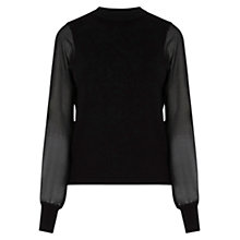 Buy Warehouse Woven Sleeve Jumper, Black Online at johnlewis.com